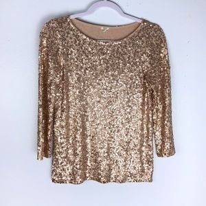 J Crew Rose Gold Sequin Holiday Shirt